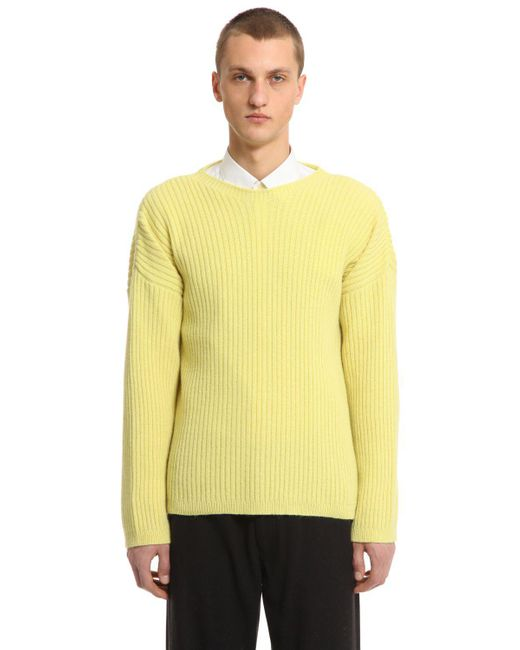 Our Legacy - Yellow Merino Wool Blend Rib Knit Sweater for Men - Lyst