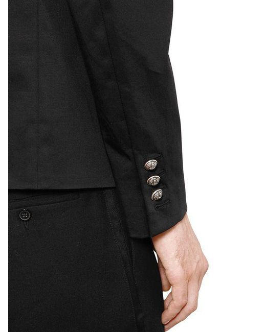cd91acce ... Balmain - Black Double Breasted Cotton Blend Jacket for Men - Lyst ...
