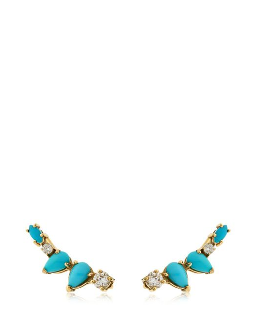 Sarah Noor - Multicolor Turquoise Diamond Cluster Earrings - Lyst