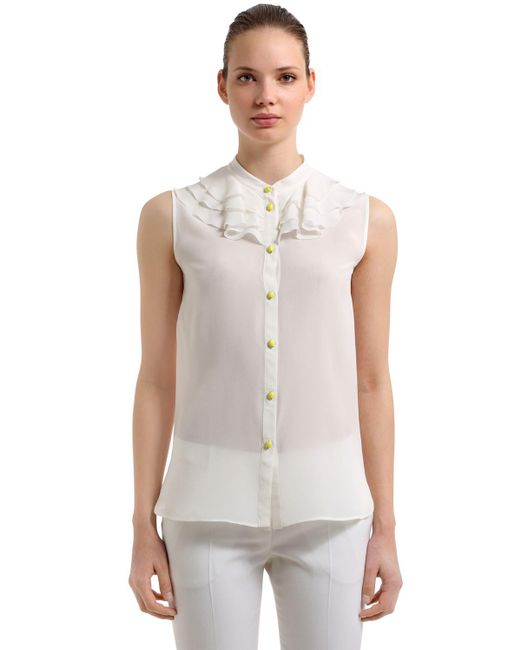 Boutique Moschino - White Ruffled Sleeveless Silk Blouse - Lyst