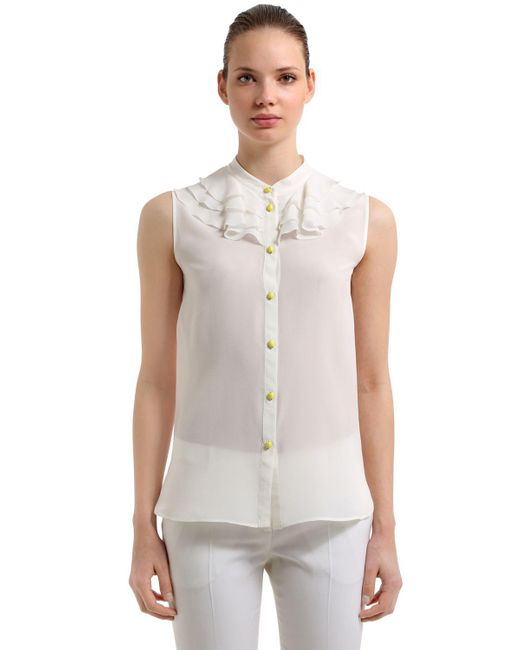 Boutique Moschino - White Ruffled Sleeveless Silk Blouse - Lyst