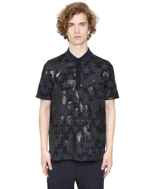 Valentino | Blue Camustars Cotton Piquet Polo Shirt for Men | Lyst