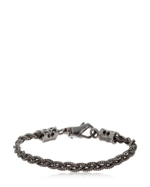 Emanuele Bicocchi - Tiny Black Braided Silver Chain Bracelet for Men - Lyst