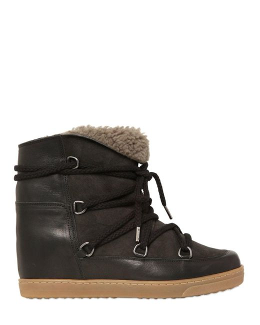 Isabel Marant | Black Etoile 70mm Nowles Suede Shearling Boots | Lyst