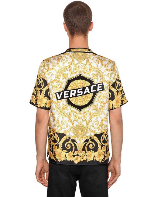 7d2d10f2 Versace - Metallic Heritage Hibiscus Silk Bowling Shirt for Men - Lyst ...