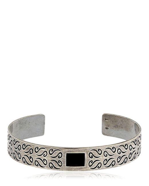 MARCO DAL MASO - Metallic Ara Engraved Silver Bracelet W/ Onyx - Lyst