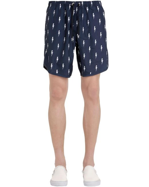 Neil Barrett - Blue Bolts Printed Nylon Swim Shorts for Men - Lyst