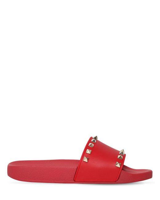 Valentino - Red Rockstud Pool Slide Sandal - Lyst