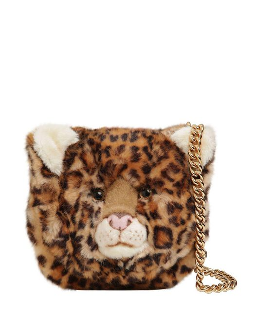 Dolce & Gabbana | Brown Leopard Plush & Embossed Leather Bag | Lyst