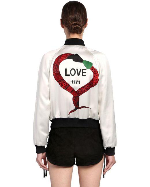 Saint Laurent - White Love 1974 Printed Satin Bomber Jacket - Lyst