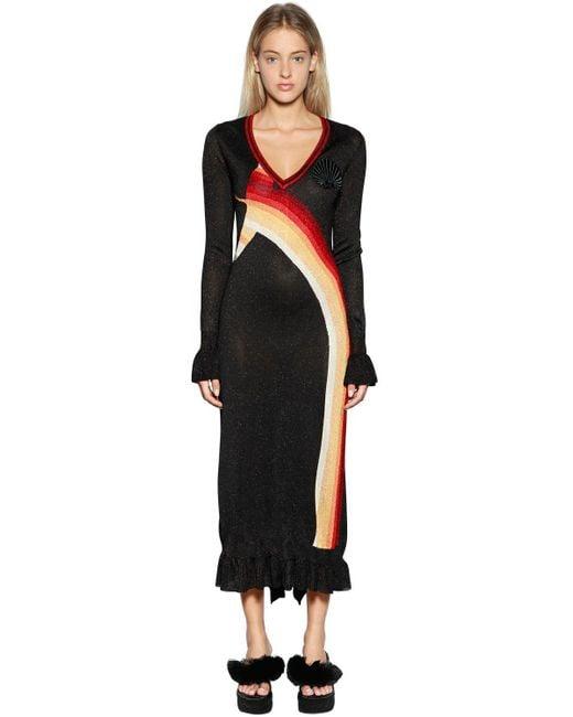 Marco De Vincenzo - Black Lurex Knit Jacquard Dress - Lyst