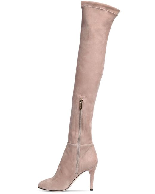 748893748d ... Jimmy Choo - Natural 90mm Toni Suede Over The Knee Boots - Lyst ...