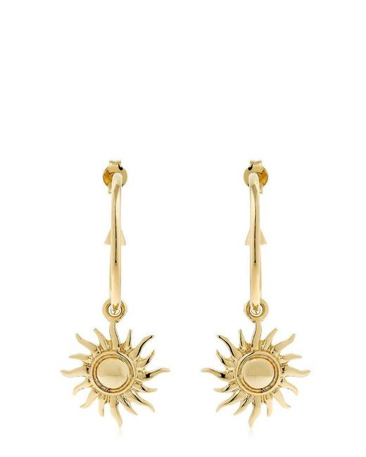Schield | Metallic Hoop Earrings W/ Sun Charms | Lyst