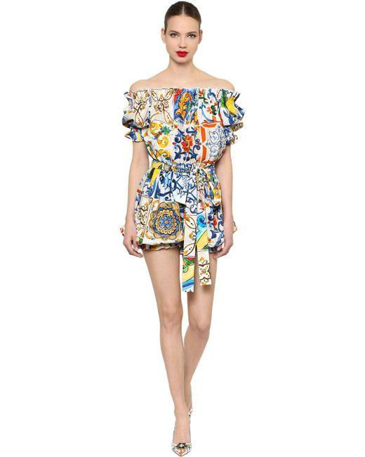 Dolce & Gabbana - Multicolor Pelele De Popelina Estampado - Lyst