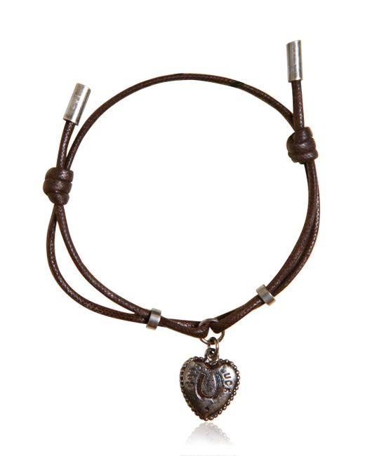 Dolce & Gabbana - Brown Waxed Strap & Metal Chain Bracelet for Men - Lyst