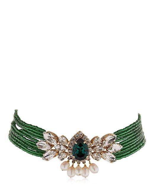 Shourouk - Green Cascade Beaded Crystal Choker - Lyst