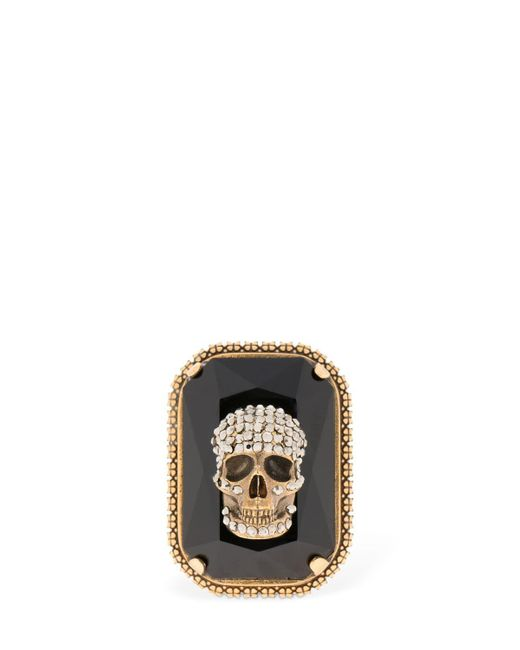 Alexander McQueen - Metallic Gemstone Skull Ring for Men - Lyst