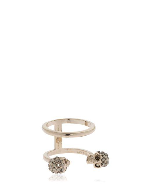 Alexander McQueen - Metallic Gold Double Skulls Stacked Ring - Lyst