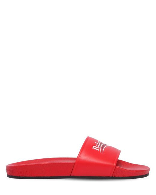 Balenciaga - Red Piscine Leather Slides - Lyst