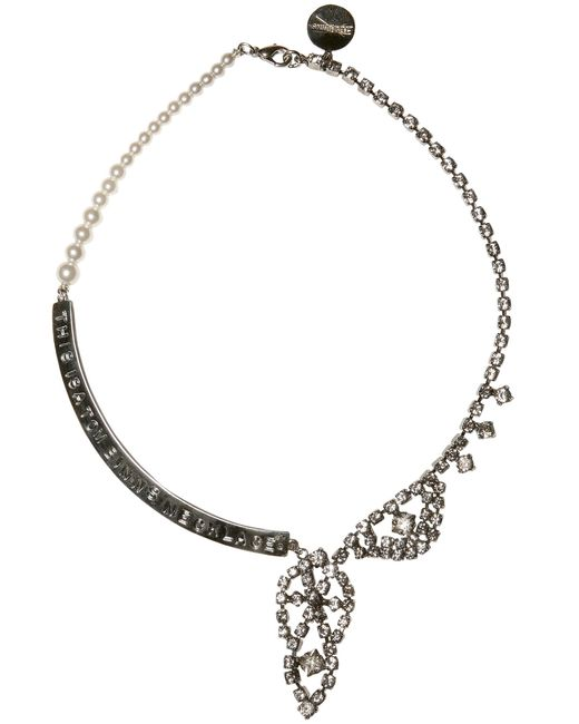 Tom Binns | Metallic Crystal and Pearl Metal Plaque Necklace | Lyst