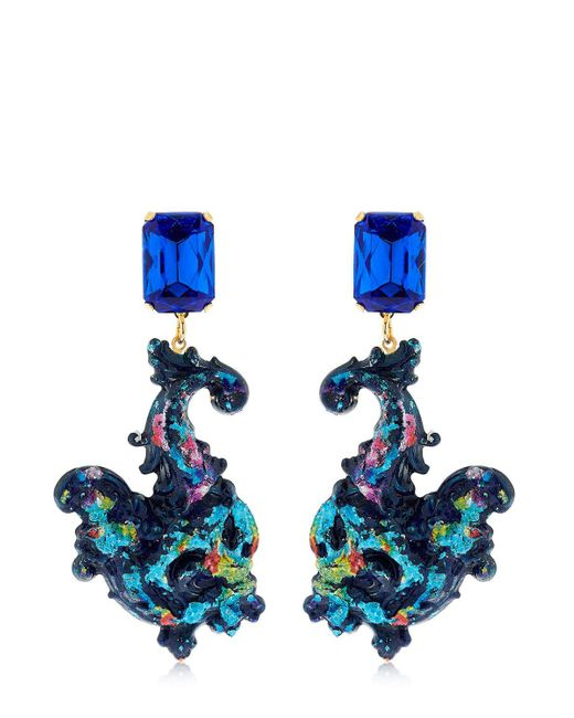 Halo - Blue Colored Earrings With Swarovski Crystals - Lyst