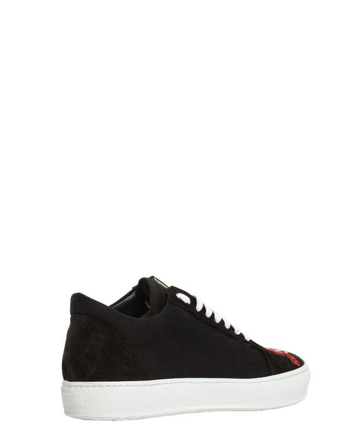 JOSHUA SANDERS EMBROIDERED CANVAS & SUEDE SNEAKERS g5xyPQMTUR