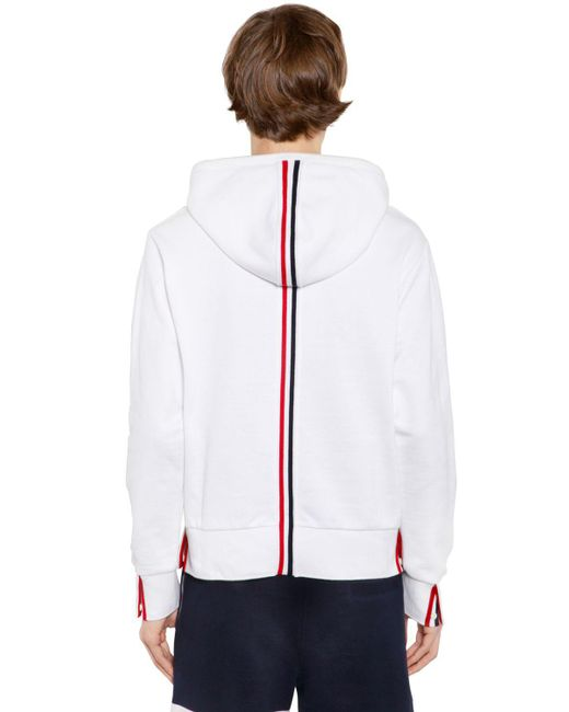 Thom Browne - White Hooded Cotton Jersey Sweatshirt for Men - Lyst