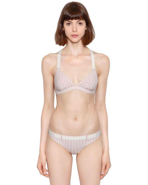 LoveStories - Pink Uma Striped Triangle Bikini Top - Lyst