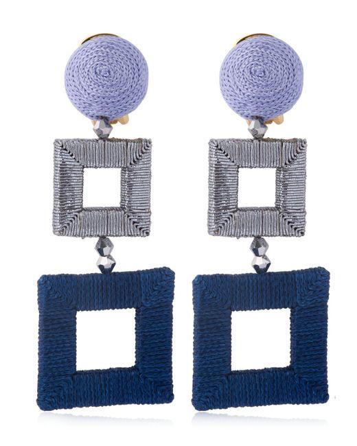 Oscar de la Renta - Blue Wrapped Double Square Earrings - Lyst