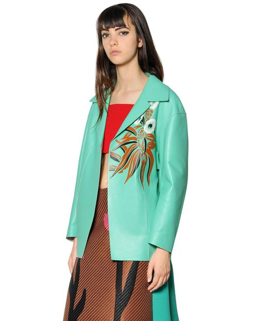 Marni | Green Double Face Nappa Leather Jacket | Lyst