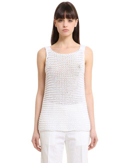 Calvin Klein | White Cotton Knit Tank Top | Lyst
