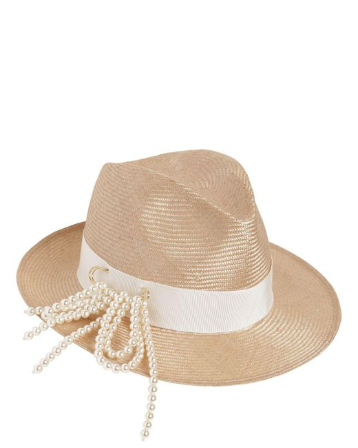 Federica Moretti - Natural Fedora Hat W/ Pin & Imitation Pearls - Lyst