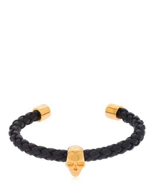 Northskull - Black Skull Braided Leather Cuff Bracelet for Men - Lyst
