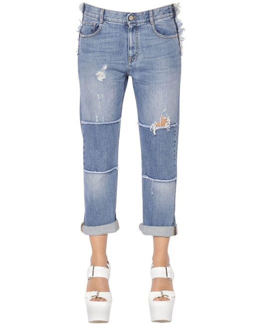 Stella McCartney - Blue Skinny Boyfriend Patchwork Denim Jeans - Lyst