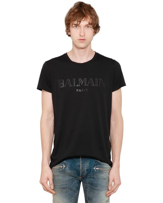 Balmain - Black Printed Cotton Jersey T-shirt for Men - Lyst
