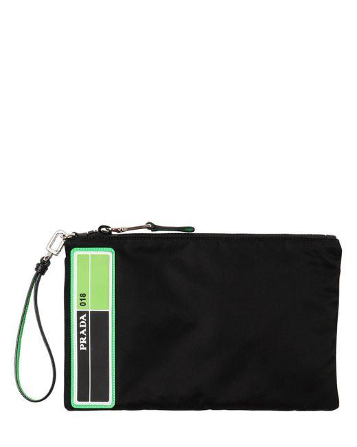 Prada - Black Logo Patch Nylon   Leather Pouch for Men - Lyst ... fe4df37834bef