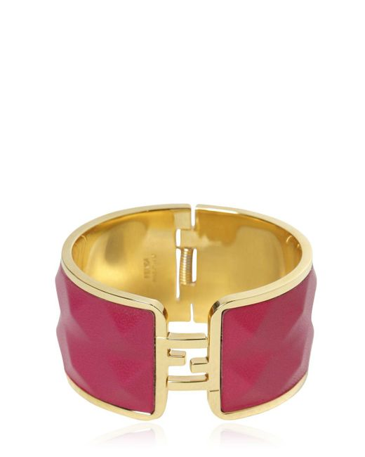 Fendi   Purple The Sta Leather & Brass Bracelet   Lyst