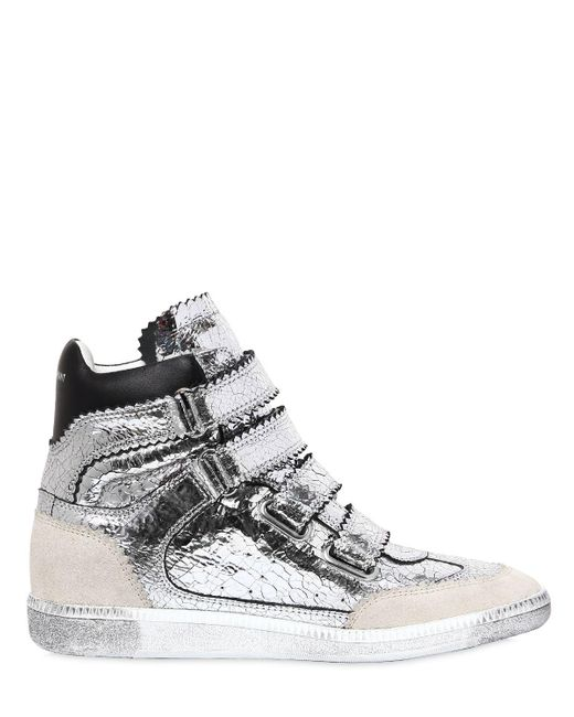 Isabel Marant 40MM BILSY CRACKLED LEATHER SNEAKERS r096l