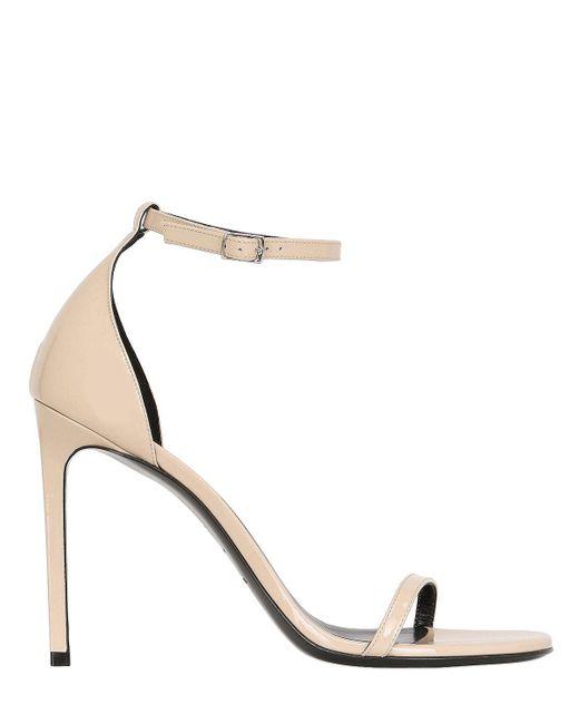 Saint Laurent - Natural 110mm Jane Patent Leather Sandals - Lyst