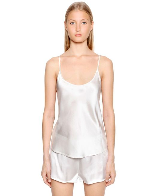 La Perla - White Silk Satin Top - Lyst