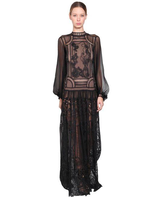 Robe Longue En Dentelle Et Chiffon De Soie Alberta Ferretti en coloris Black