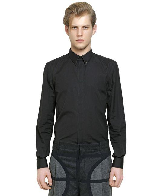 givenchy cuban fit 17 cotton poplin shirt in black for men lyst. Black Bedroom Furniture Sets. Home Design Ideas