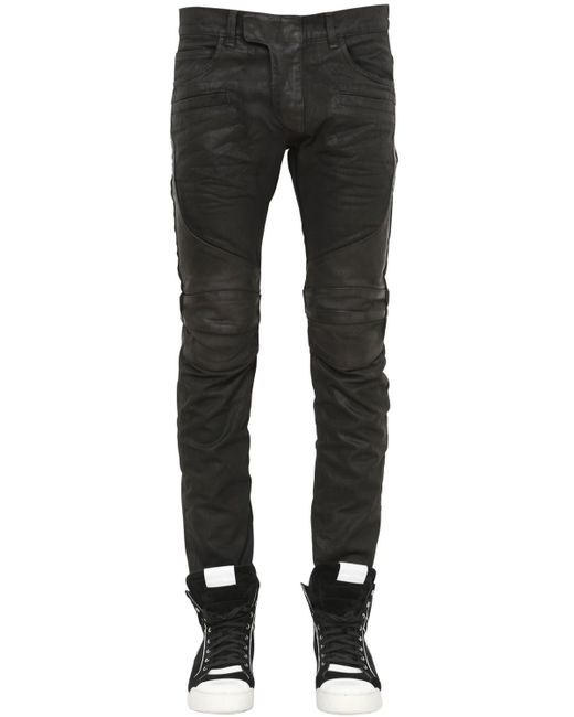 Balmain | Black 17cm Biker Coated Cotton Denim Jeans | Lyst