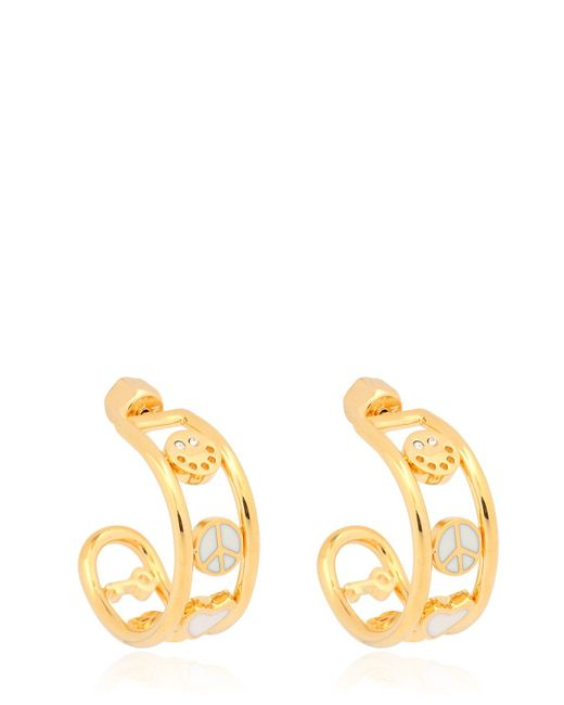 Marc By Marc Jacobs | Metallic Enameled Happy House Hoop Earrings | Lyst