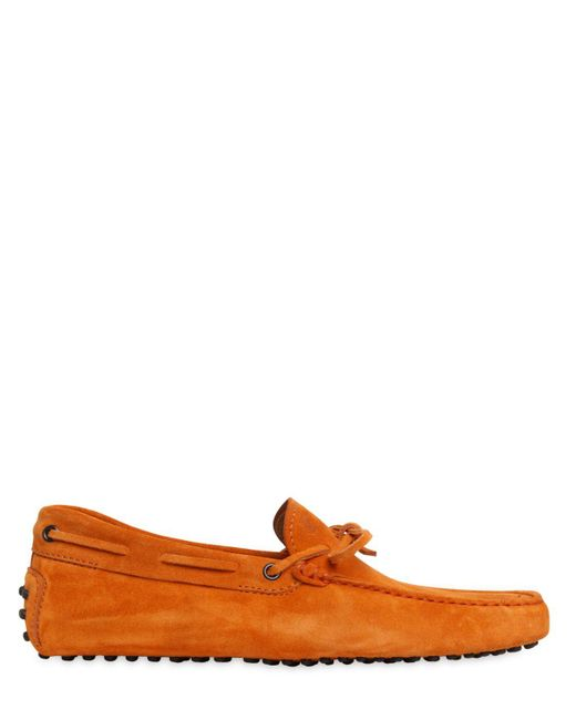 Tod's | Orange Gommino 122 Suede Driving Shoes for Men | Lyst