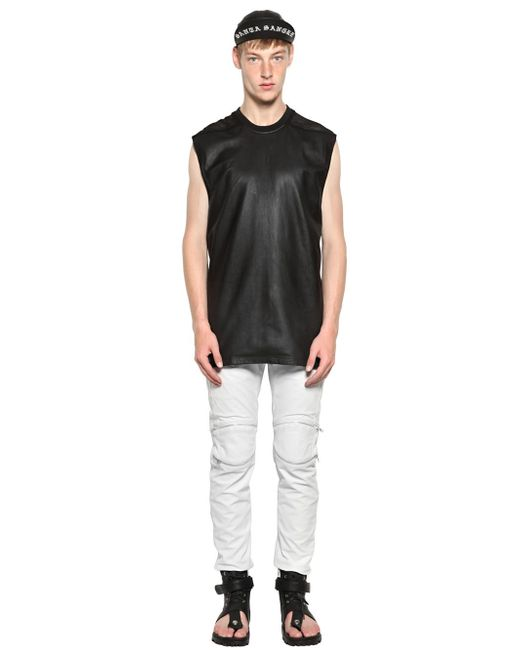 Skingraft | Black Nappa Leather & Cotton Mesh T-shirt for Men | Lyst