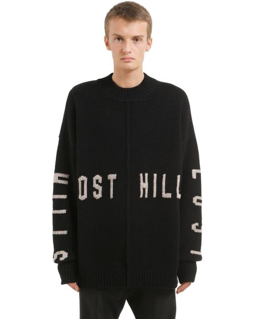Yeezy - Black Lost Hills Intarsia Wool Sweater for Men - Lyst