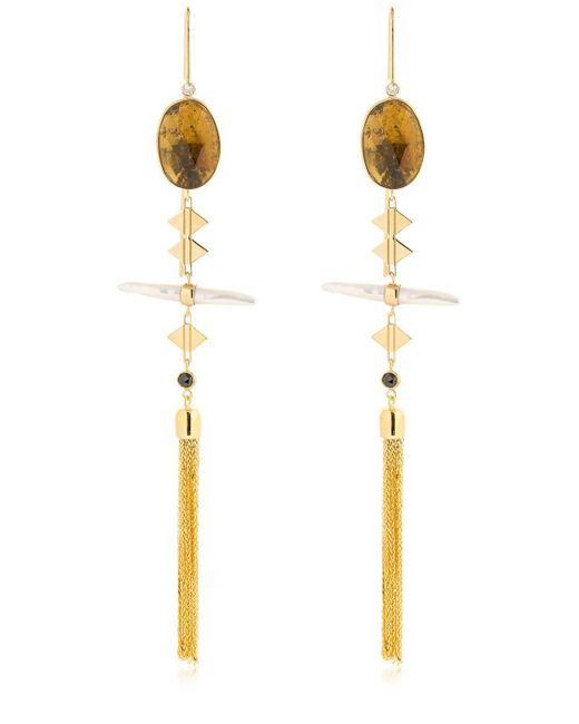 Lito - Metallic Orange Tourmalines Pendant Earrings - Lyst