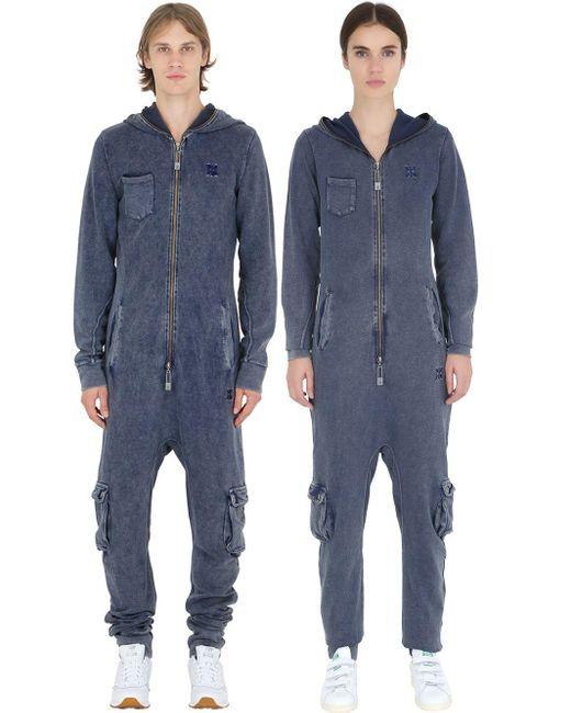 OnePiece | Blue Denim Effect Cotton Piqué Jumpsuit | Lyst