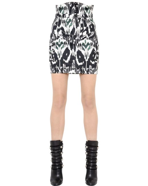 Isabel marant Printed Stretch Cotton Denim Skirt in White - Save ...
